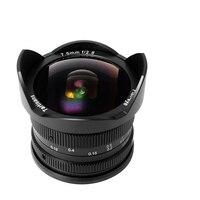 7 artesãos 7.5mm f2.8 fisheye lente APS-C lente fixa manual para montagem e canon EOS-M montagem fuji fx