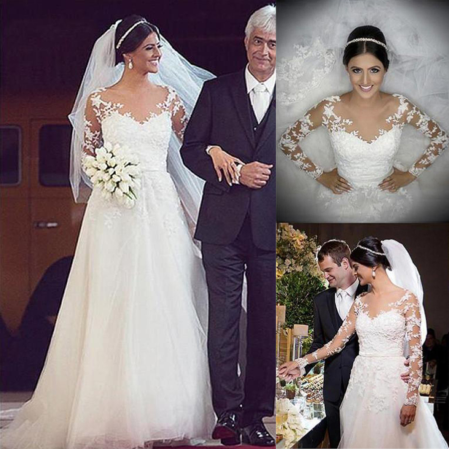 Brilliant Tulle Jewel Neckline A-line Wedding Dresses With Beaded Lace Appliques & Bowknot Long Sleeves Bridal Dresses