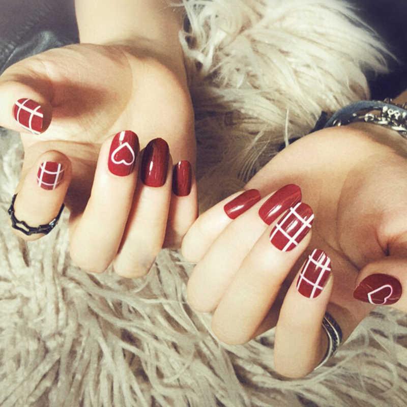 Proste 24 sztuk/zestaw czerwony Gradient skok kolor projekt wykończone sztuczne paznokcie krótki rozmiar pełne tipsy Patch Lady narzędzie artystyczne