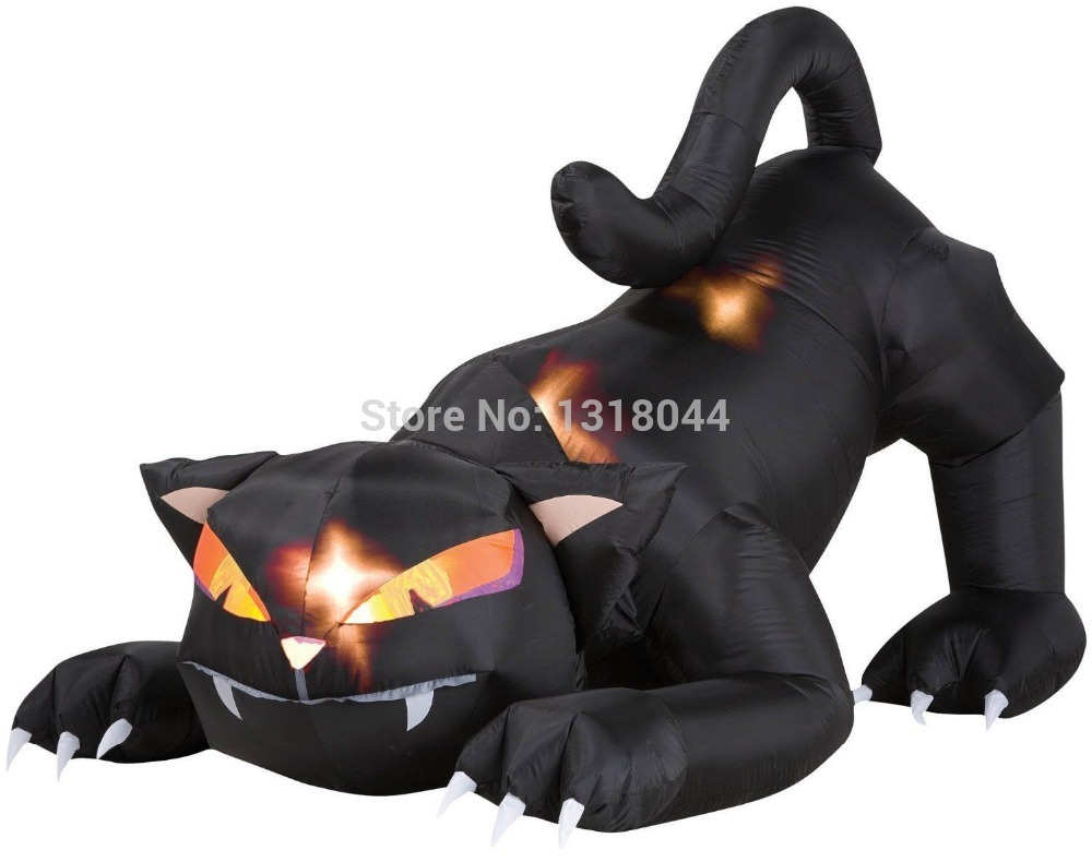 Outdoor inflatable halloween decorations - Giant 10ft 3m Lighted Animated Inflatable Halloween Black Cat Inflatable Cat China