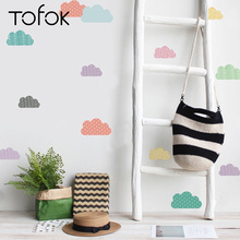 Tofok 18pcs/set Colored Clouds Wall Stickers Ins Nordic Style Decals Girl Room Decoration Living Bedroom Murals