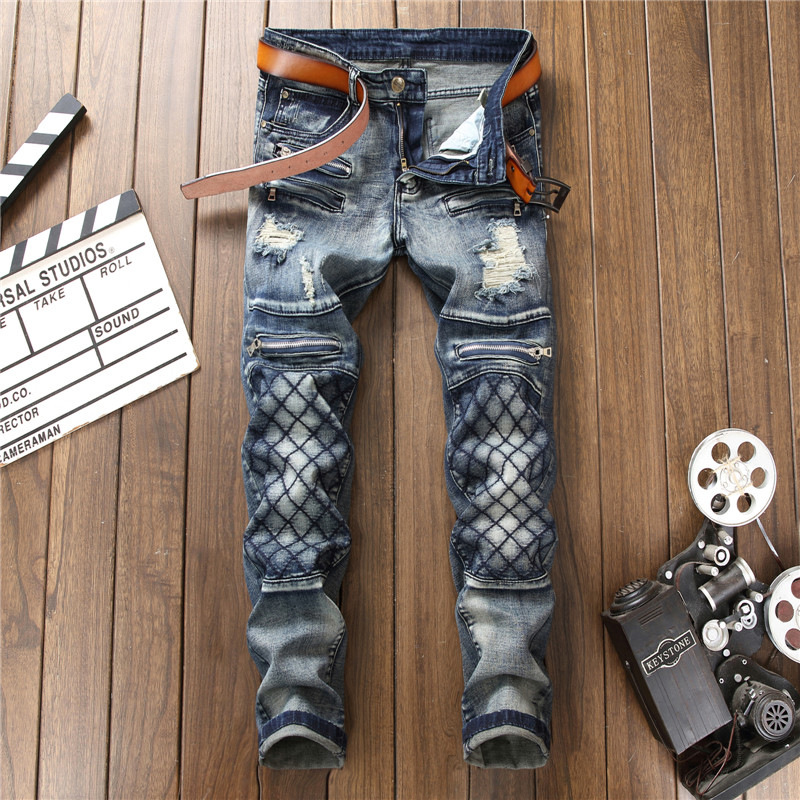 High Quality Designer 2018 Men Jeans Biker Slim Fit Punk Distressed Ripped Straight Hip Hop Pants Trousers Man Jeans Streetwear euramerican style baggy hip hop men jeans widened increase skateboard pants comfortable mid waist casual mens streetwear jeans
