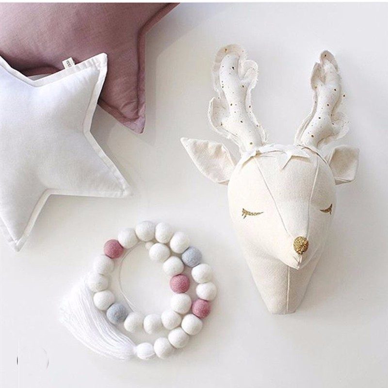 3d White Unicorn Sheep Deer Swan Wall Decorations Animals Head Toys Kids Bedroom Wall Hangings Artwork Baby Gifts Stuffed Toys