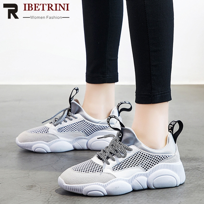 RIBETIRNI 2019 Spring New INS Hot Sale Bear Sole Mesh Sneakers Women Summer Genuine   Leather     Suede   Ladies Summer Daily Shoe Woman