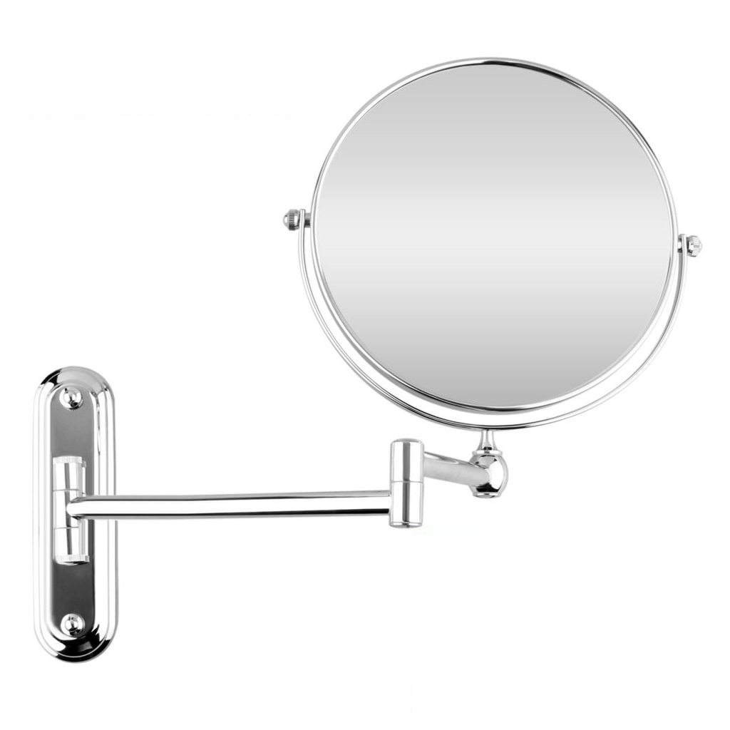 Silver Extending 8 Inches Cosmetic Wall Mounted Make Up Mirror Shaving Bathroom Mirror 5x Magnification