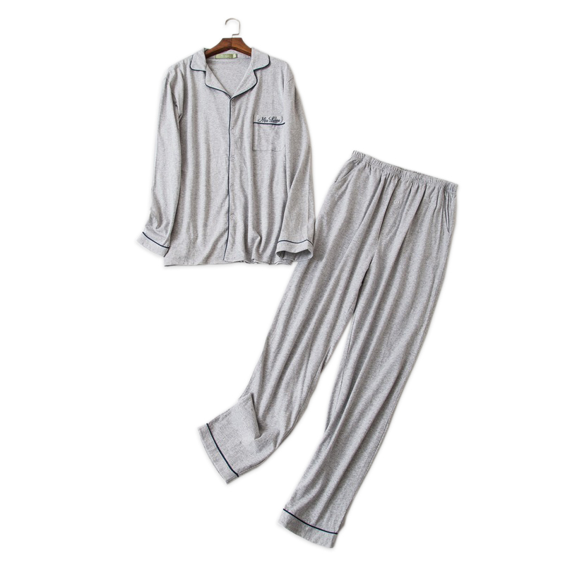 Pure Color Simple Sleepwear Men Pajamas Sets 100% Cotton Winter Long-sleeve Pyjamas Daily Wear Male Pijamas Hombre Pyjamas