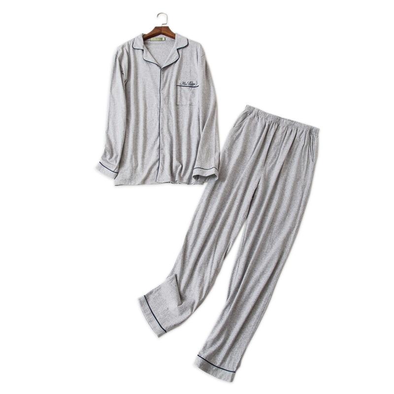 Pure Color Simple Sleepwear Men Pajamas Sets 100% Cotton Winter Long-sleeve Pyjamas Daily Wear Male Pijamas Hombre Pyjamas