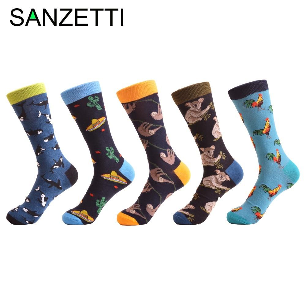 SANZETTI 5 pairs/lot Fashion Mens Combed Cotton Skateboard Socks Whale Cock Monkey Pattern Casual Brand Dress Crew Novelty Sock