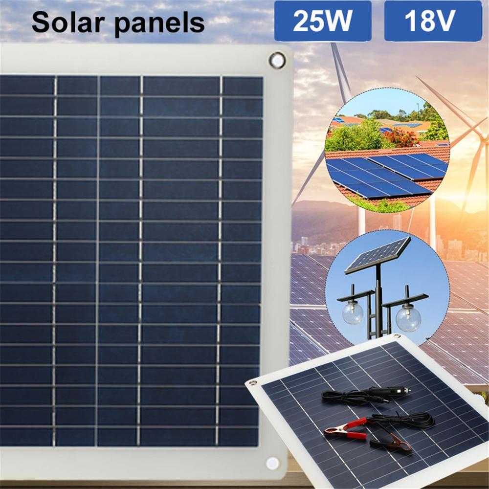 BCMaster Battery Solar Generator 25W 18V Solar Panel DC Port+Cigarette Lighter Emergency Power Supply Durable