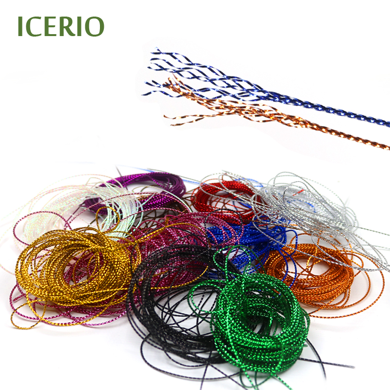 ICERIO 5m/Pack Fly Tying Glitter Rib Chironomid Midge Nymph Braid Lines Fly Tying Materials 10 pieces 10 x 5 5 cm fly tying rainbow film sabiki rig shrimp back wings scud nymph tying clear flash film fly tying materials