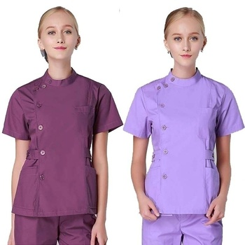 Women's Scrub Tops Medical SPA Uniforms Stand Collar Coat Side Opening With Adjustable Waist Belts(Just A Top)