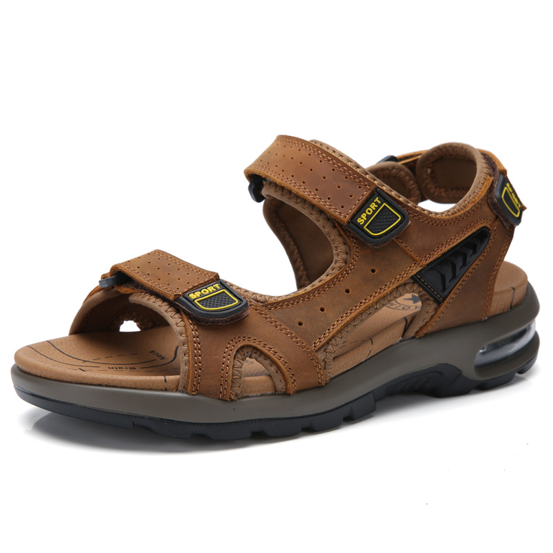 Classic Air Cushion Men Soft Sandals Comfortable Men Summer Shoes Leather Sandals Big Size Summer Leisure Beach Men Shoes(China)