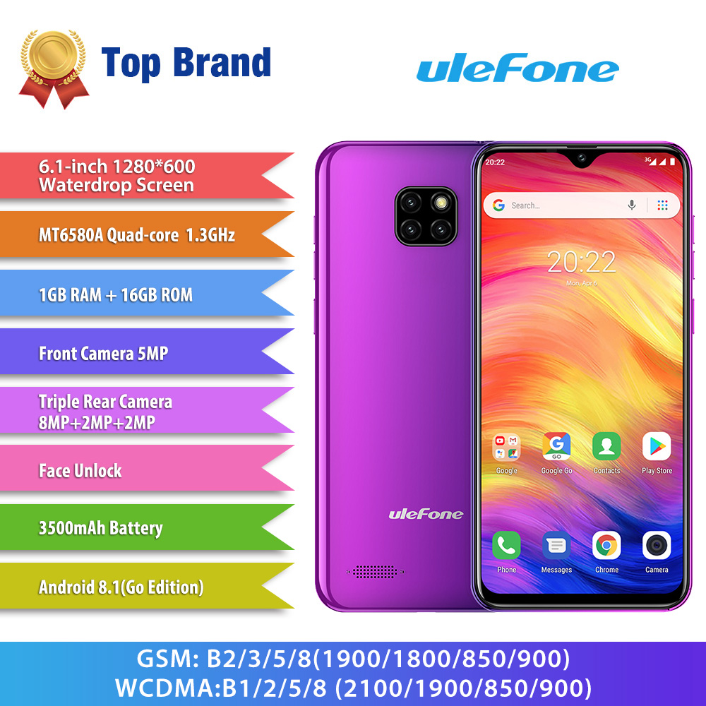 Ulefone Note 7 Smartphone 6.1inch 19:9 Waterdrop Screen Quad Core Cellphone 1GB+16GB ROM Mobile Phone Android 9.0 Three Camera