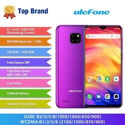 Перейти на Алиэкспресс и купить ulefone note 7 smartphone 6.1inch 19:9 waterdrop screen quad core cellphone 1gb+16gb rom mobile phone android 9.0 three camera