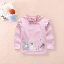 Shirt For Kids Girl Sweater Infant Clothes Sweater Baby Girl Sweater Bow Cartoon Embroidery Plus Velvet Bottom