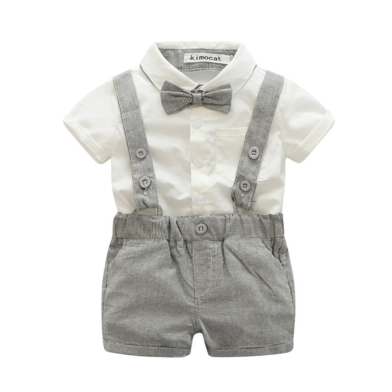 New Baby Boy Child Pants Suspenders 2017 Suit Gentleman Suit Style Short/Long Sleeved Shirt + Shorts/Long Pants 0-24M S2 [free shipping] 2015 new arrival fashion female 1 4 years child love baby cashmere long sleeved jacket trousers leisure suit