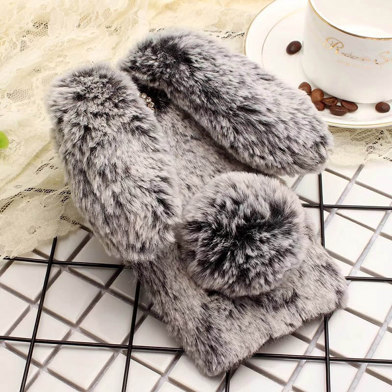 Plush Bunny Case for Cubot Rainbow Note S H2 X18 Plus Hafury Mix R11 Soft Fur Cute 3D Rabbit Ears TPU Diamond Phone Case Cover