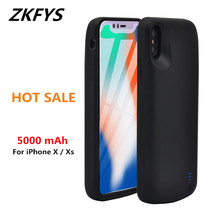 ZKFYS 5000mAh Power Bank Cover Battery Case For iPhone X / Xs  Ultra Thin Silicone Anti-drop Back Clip Charger Cases