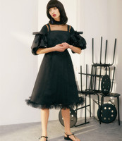 Original Design Spring Summer Women Vintage Stand Collar Lantern Sleeve Elegant Slim Mesh Patchwork Rococo Dark