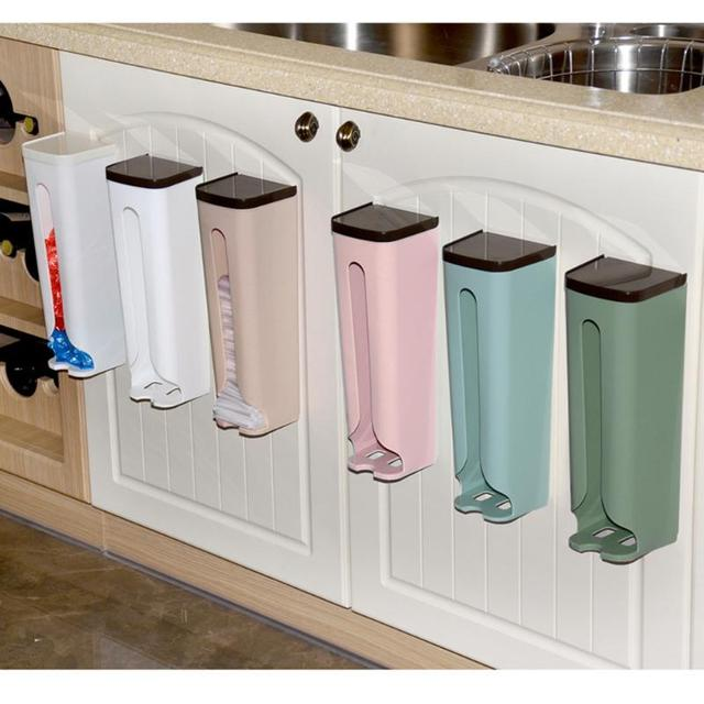 Garbage Bag Dispenser Recycle Bag Storage Box Wall Mount Hanging ...
