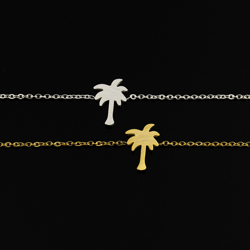 Wholesale 10pcs Stainless Steel Gold Color Palm Tree Bracelet For Women Bijoux Caribbean Summer Travel Vacation Coconut Jewelry image