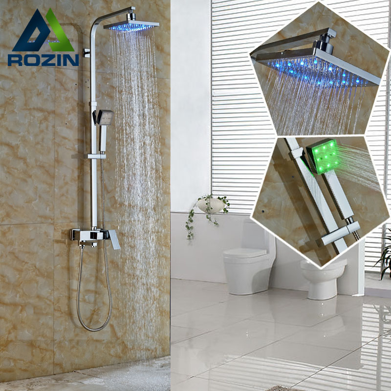 2016 New Design Color Changing LED Rain Shower Mixer Faucet Complete Set Bathroom Outdoor In-wall Bath and Shower Faucet Taps sognare new wall mounted bathroom bath shower faucet with handheld shower head chrome finish shower faucet set mixer tap d5205
