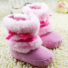 Princess Baby Girls Bowknot Snow Warm Boots Soft Crib Shoes Toddler Fleece Boots