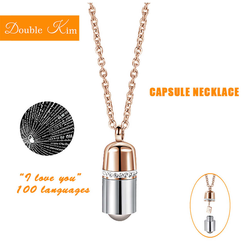 100 languages I love you Projection Capsule Pendant Necklace Titanium Steel Fashion Trendy Women Jewelry Valentine's day Gift
