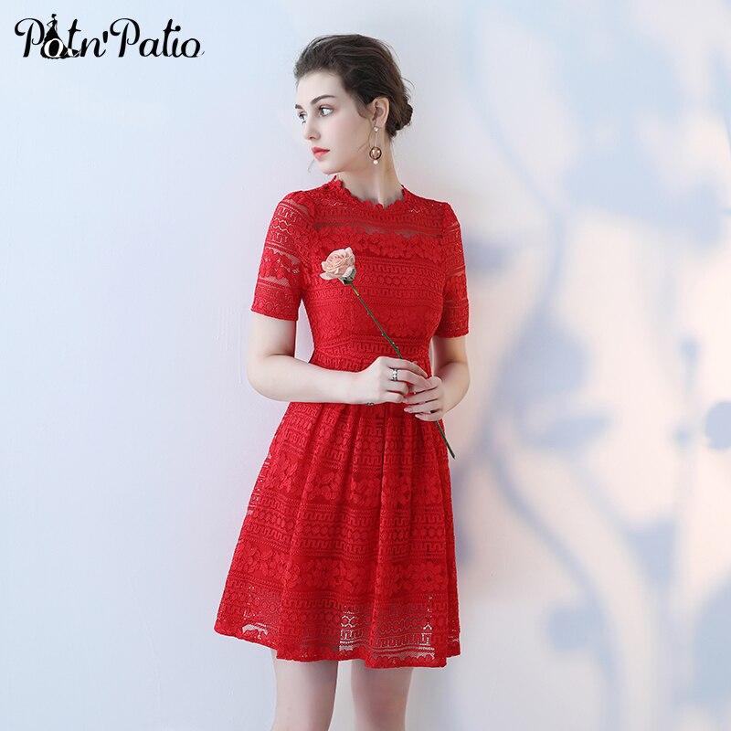 Wonderful PotNu0027Patio Simple O Neck Short Cap Sleeve Elegant Lace Red Bridesmaid  Dresses For