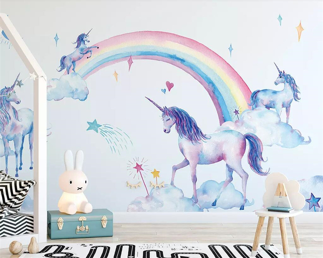 Beibehang mural Fresh watercolor hand-painted Tianma rainbow unicorn children background wall home decoration mural 3d wallpaper