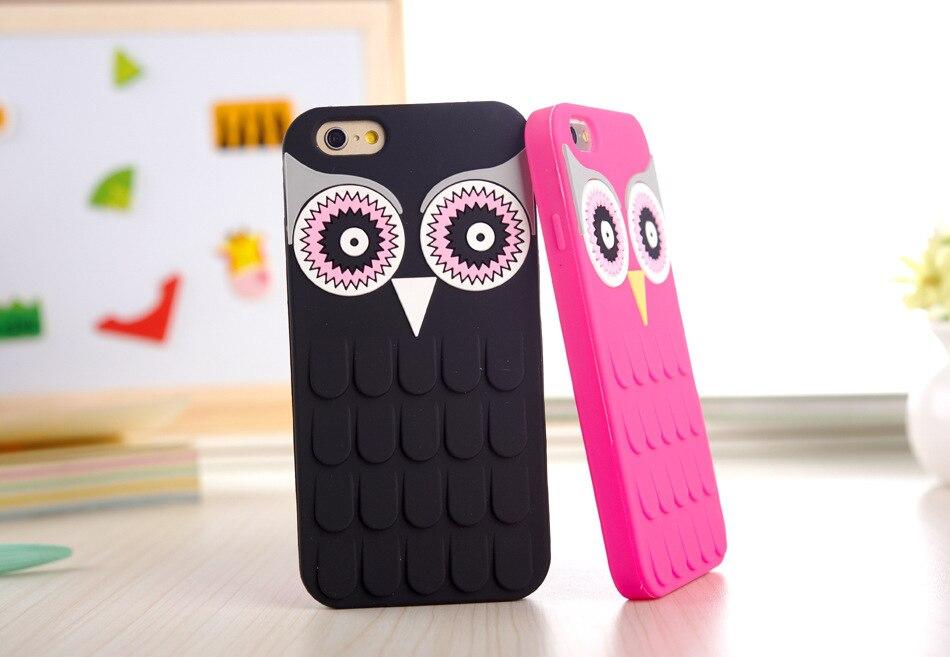 Nueva Llegada 3D de la Historieta Linda OWL Suave Silicona de Goma Cubierta de la Caja Del Teléfono Para la Manzana iphone 7 7 plus 4 5S 4S 4g 5 5g 6 6 s 6 más 5.5