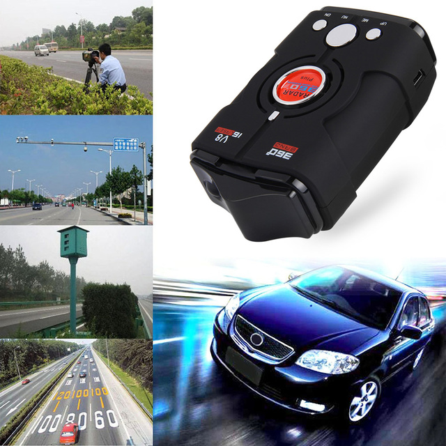 Rectangle Car Speed Radar Detector 16 Band V8 LED Display Voice Alert Auto 360 Degrees for Driving Safety Russia/English Version