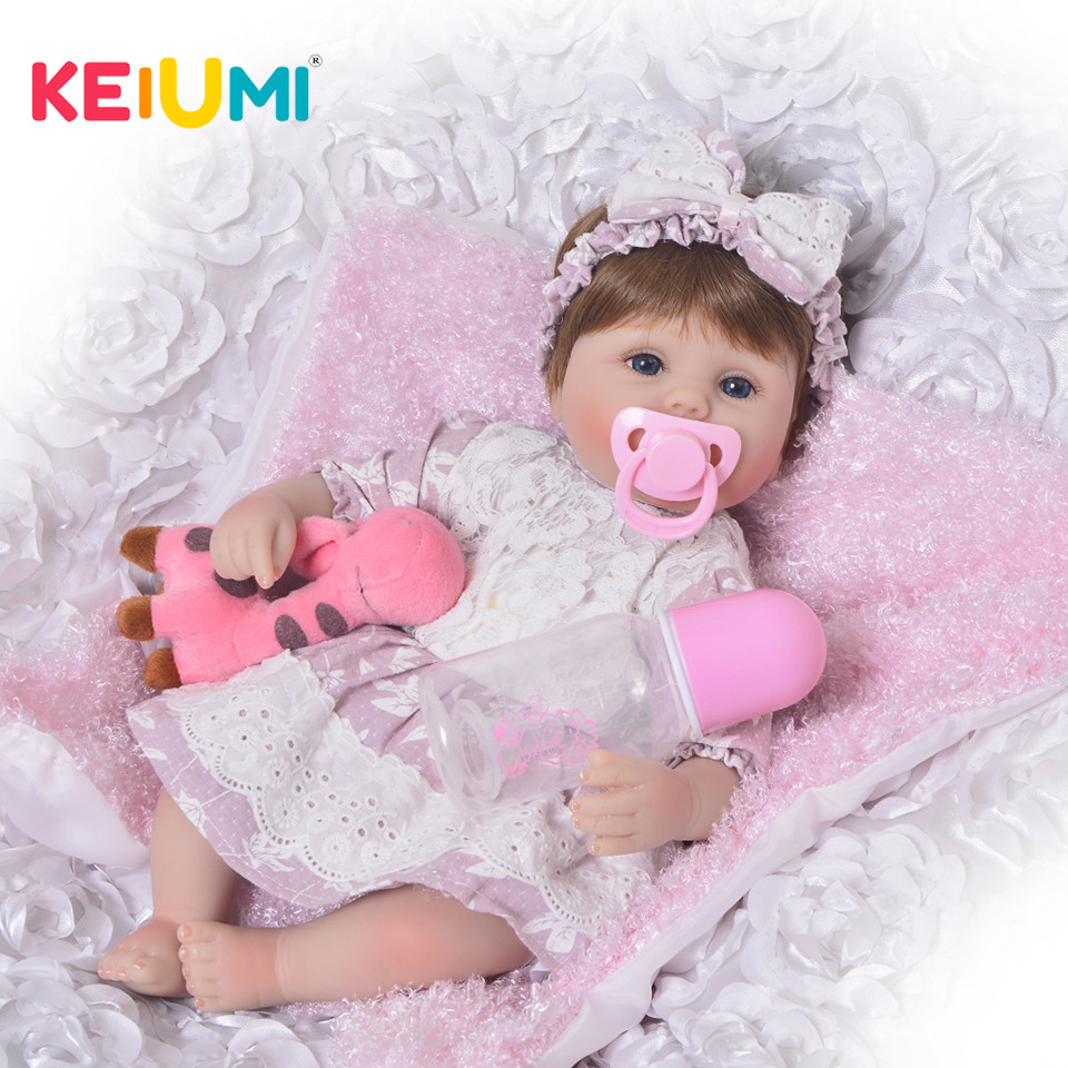 KEIUMI Nette Silikon Rebron Baby Puppen Neugeborenen Baby 17 zoll Realistische Prinzessin 43 cm Kinderspielkameraden Baby Reborn Mode DIY spielzeug