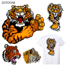 ZOTOONE Stripe Tiger Iron on Transfer Patches Clothing Diy Patch Heat for Clothes Decoration Stickers Boy Man G