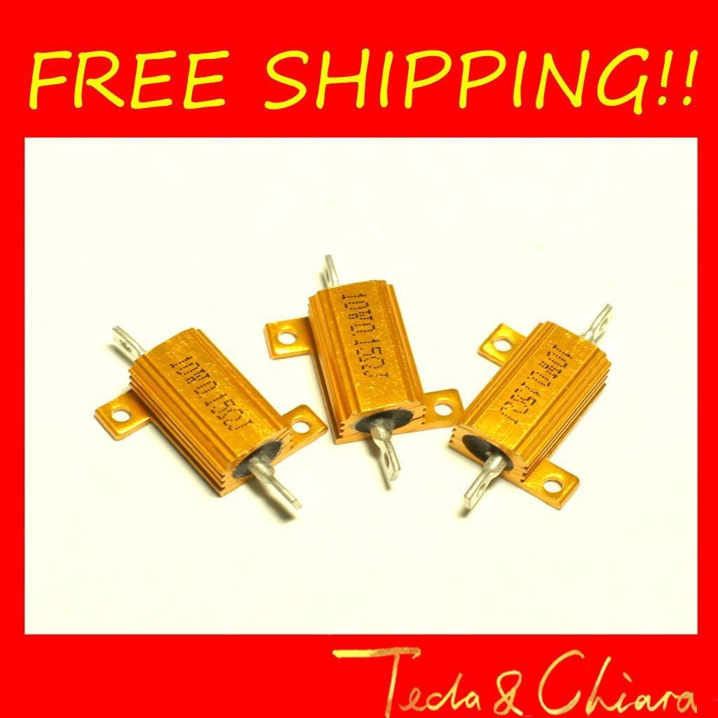 22R 22 22ohm 0.1R 0.1 0.1ohm R Ohm 10W Watt Gold Tone Wirewound Aluminum Power Metal Shell Case Resistance Resistor RX24