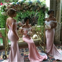Off The Shoulder Mermaid Lace Applique Satin Pink Bridesmaid Dresses 2016 Robe Demoiselle D\'honneur Zipper-Up Counrt Train