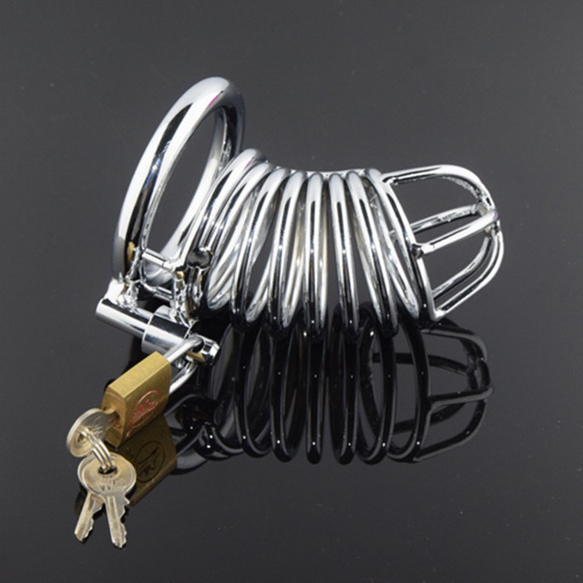 Stainless Steel Male Chastity Device Cock Cage Men's Virginity Lock Gold Metal Penis Sleeve