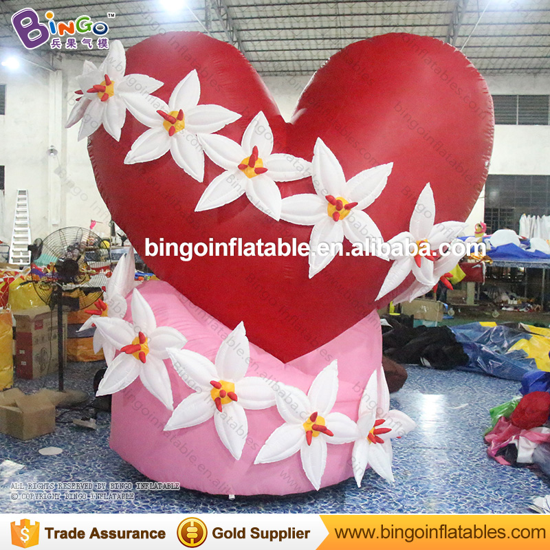 Free Shipping valentine decorations Rustic wedding light-up inflatable heart and flowers for toys free shipping led light up inflatable heart shpe light inflatable lighting 2 4m for valentine s day wedding toy decoration