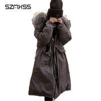 SZMXSS пальто с капюшоном и меховым воротником 2018 зимнее пальто для женщин теплая Повседневная Длинная Куртка пальто женская верхняя одежда п
