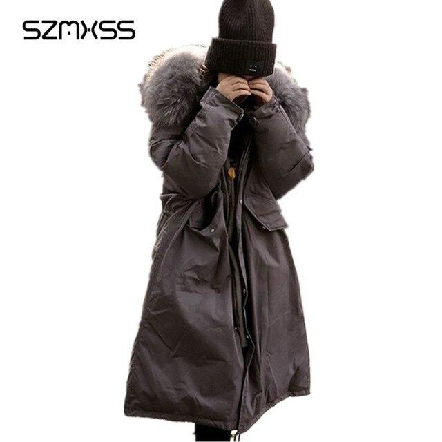 SZMXSS Com Capuz De Pele Gola do Casaco 2018 Mulheres Casaco de Inverno Quente Longo Jaqueta Casual Casacos Outerwear Feminino Jaqueta Feminina Parka Cinza