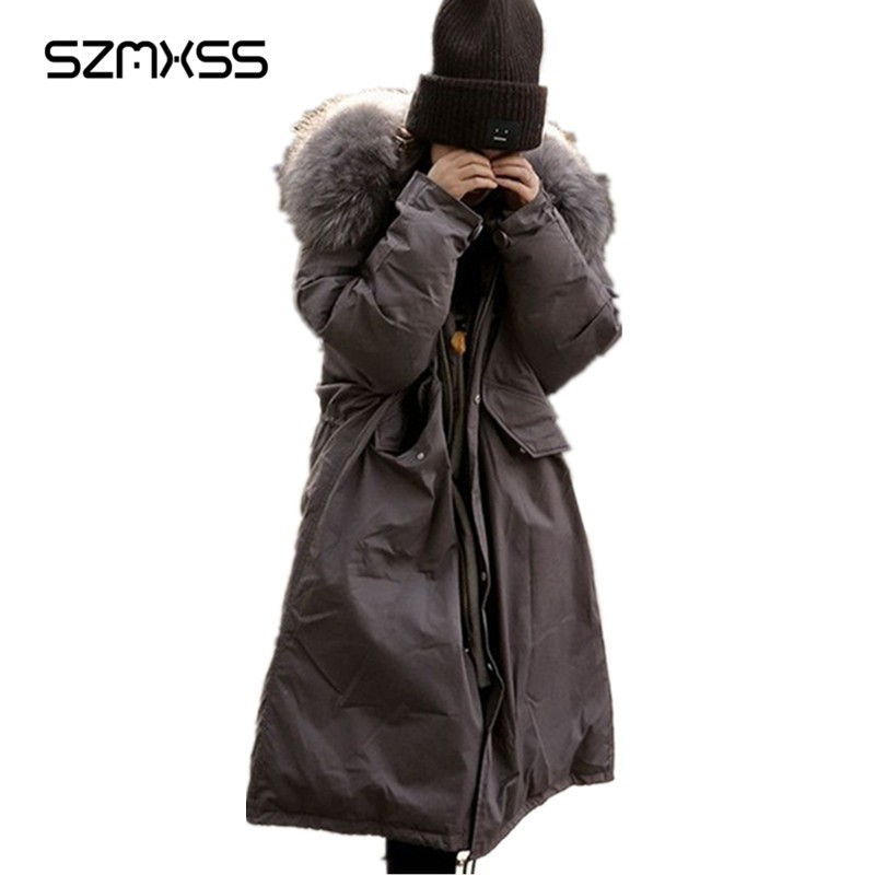 SZMXSS Hooded Fur Collar Coat 2018 Winter Coat Women Warm Casual Long Jacket Coats Female Outerwear   Parka   Gray Jaqueta Feminina