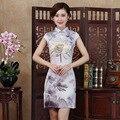 Sexy Lotus Print Cheongsam Women Summer 2017 Flowers Silk Cheongsams Dress Short Chinese Traditional Dress Plus Size Qipao