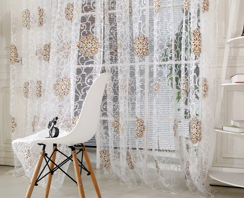 Stylish Embroidered Tulle Curtains For Living Room ModernTulle Window  Curtain Voile Drape Sheer Scarf Valances Hot Sale