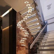 Подвесной светильник, современный минималистичный дуплексный напольный зал, модная атмосфера, Скандинавская лампа для гостиной, вилла, спиральная лестница, длинный подвесной светильник