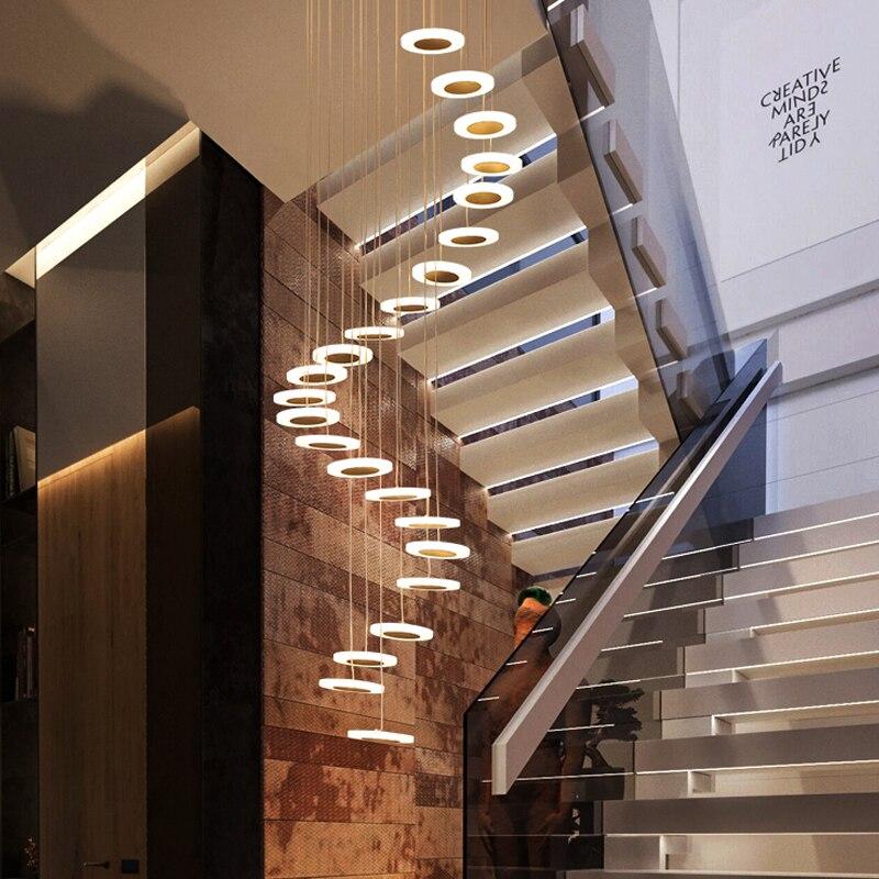 Luz pingente Moderno e minimalista duplex piso hall atmosfera fashion Nordic sala villa lâmpada escada em espiral pendurado longo