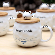 Cat and Fish Animal Ceramic Mug with Spoon Wooden Cover Creative Coffee Porcelain Tea Cup