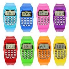 LED Calculator Watch Electronic Digital Chronograph Computer Kids Child Boys Girls Rubber Wrist Watches