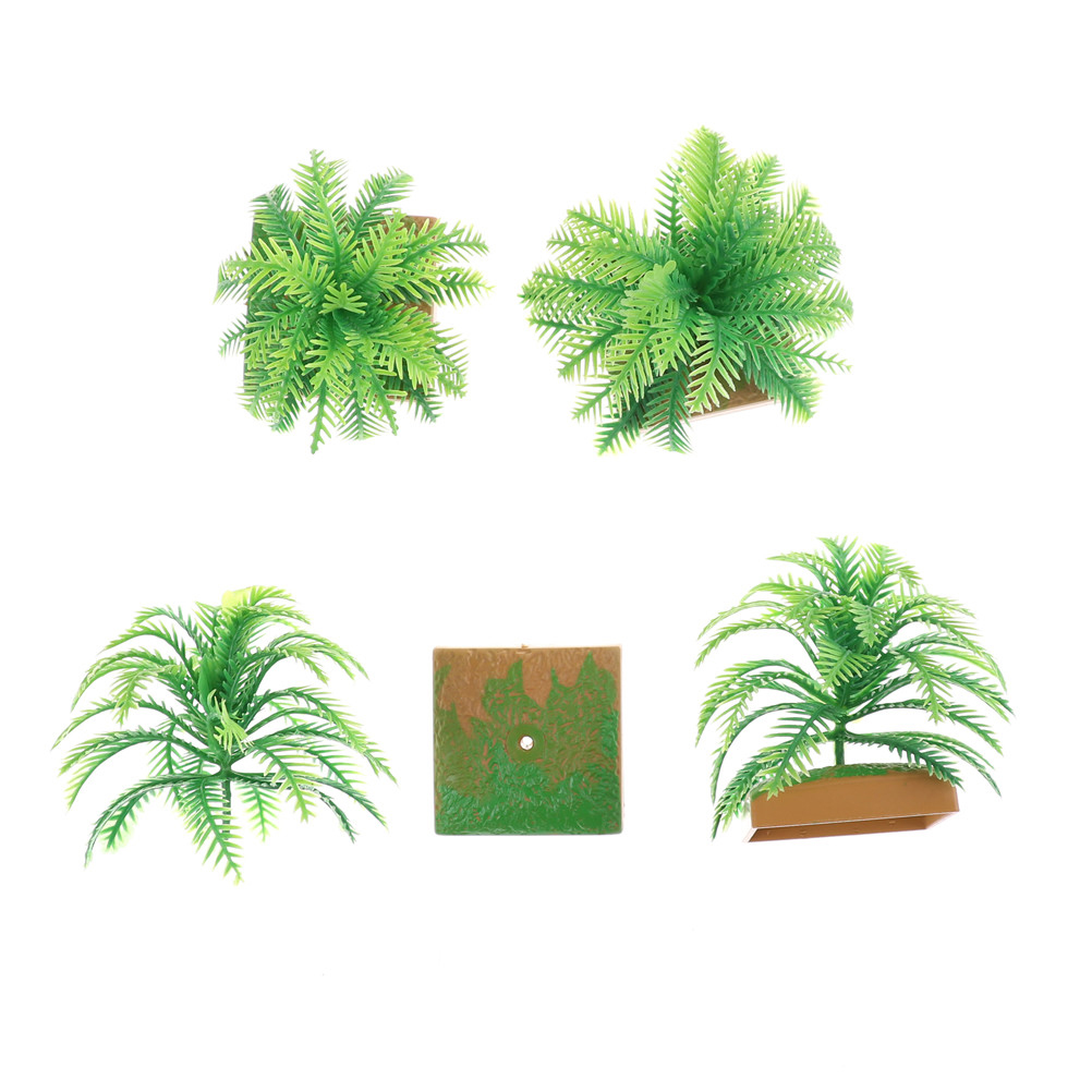 2PCS Hot Selling Miniature Plant Model Simulation Imitative Tree Shrub+Base Pedestal For Sand Table Building Architectural Model