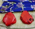 Fashion Jewelry Earring Hot Red Turquoise Silce Stone baroque Dangle Hook Earring Gift