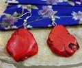 Joyería Pendiente de La manera Caliente Rojo Turquesa Silce Piedra barroca Cuelga Del Gancho Del Pendiente de Regalo